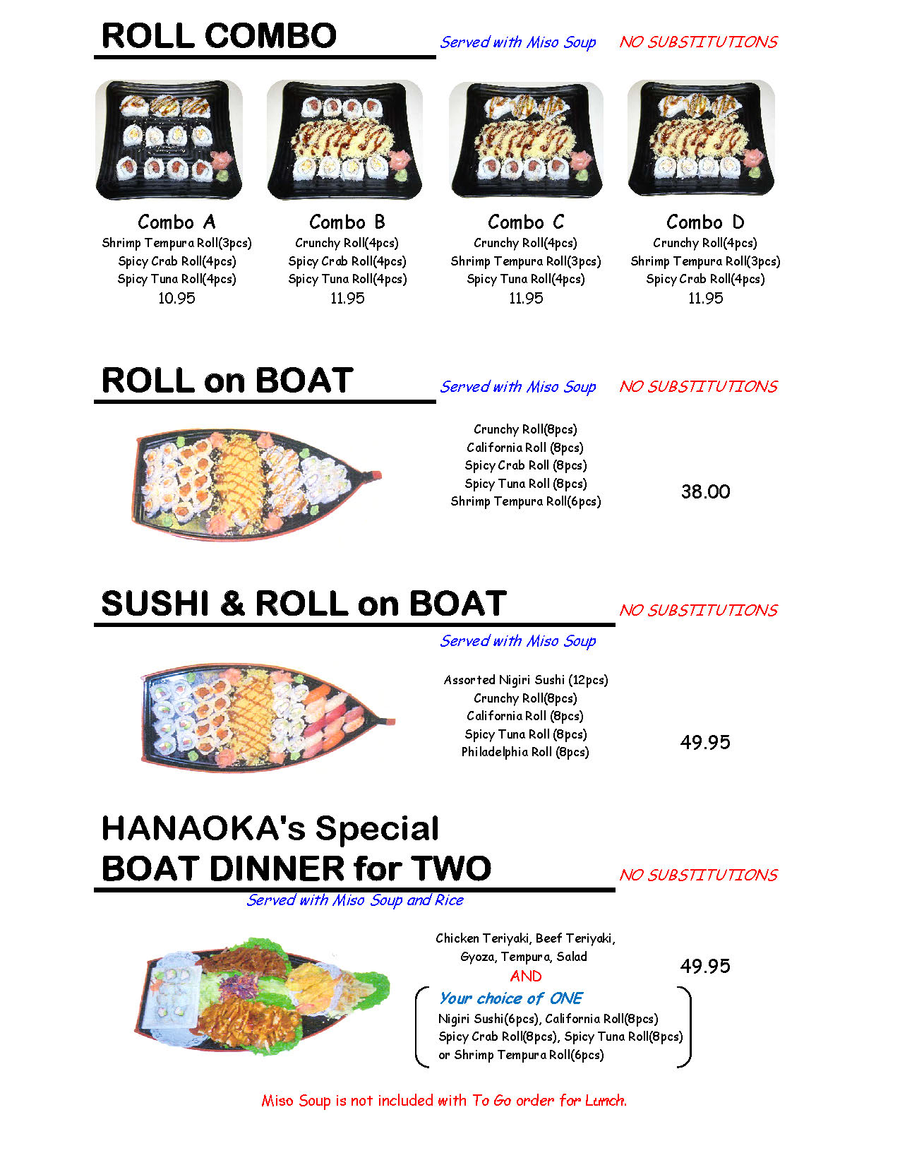 roll combo, roll on boat, sushi & roll on boat, Hanaoka's special boat differ for two
